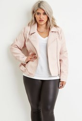 Forever 21 Plus Size Faux Leather Moto Jacket Light Pink