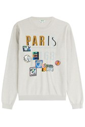 Kenzo Embroidered Cotton Pullover Beige
