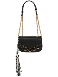 Roberto Cavalli Smooth Leather Shoulder Bag With Tassels