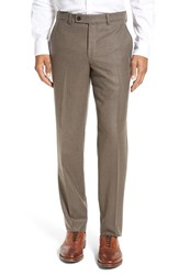 Ted Baker Men's London 'Frobisher' Flat Front Solid Wool Trousers Light Brown