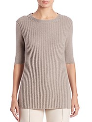 Lafayette 148 New York Cashmere Ribbed Panel Sweater Mercury