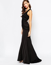 Jarlo Fishtail Maxi Dress With Open Back And Detail Black