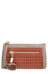 Big Buddha 'Jpilar' Studded Faux Leather Wristlet Brown Cognac Multi