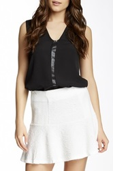 Fate Sleeveless Faux Leather Trim V Neck Blouse Black
