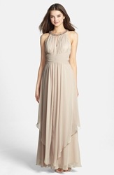 Eliza J Embellished Tiered Chiffon Halter Gown Champagne