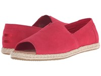 Toms Alpargata Open Toe Raspberry Suede Women's Flat Shoes Pink