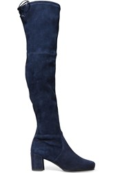 Stuart Weitzman Hinterland Stretch Suede Over The Knee Boots Navy