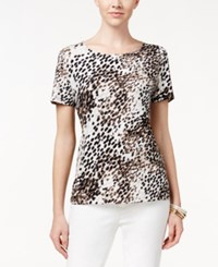 Jm Collection Textured Tee Animal Dot Print Sand