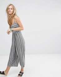 Pull And Bear Pullandbear Culotte Jumpsuit In Stripe With Cut Out Detail White