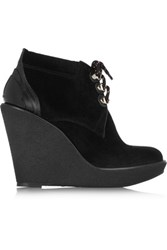 Burberry London London Suede Wedge Ankle Boots Black