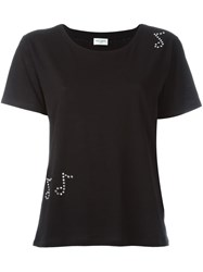 Saint Laurent Music Note Studded T Shirt Black