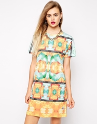 Hype T Shirt Dress With Jewel Print And Strip Logo Multi