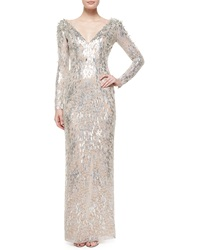 Jenny Packham Textured Beaded Metallic Lace Dress