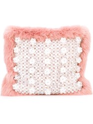 Shrimps Faux Fur Clutch Pink Purple
