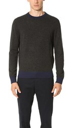 Club Monaco Synth Trim Crew Sweater Grey Navy