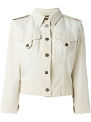 Dolce And Gabbana Vintage Military Style Denim Jacket Nude And Neutrals