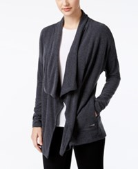 Calvin Klein Performance Brushed Open Front Cardigan Heather Grey