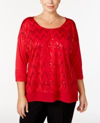 Ny Collection Plus Size Sequined Chevron Top Red Travol