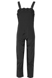 Sea Embroidered Cotton Blend Jumpsuit Black