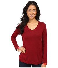 Nydj Petite Mixed Media V Neck Sweater Carmine Promise Women's Sweater Red