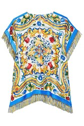 Dolce And Gabbana Fringed Printed Silk Blend Twill Top Yellow