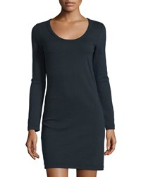 James Perse Long Sleeve Cotton Shirt Dress Deep Blue