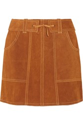 Anna Sui Belted Suede Mini Skirt Brown