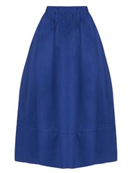 Doru Olowu Elasticated Waist Cotton Gabardine Skirt Blue