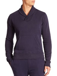 Wahts Cotton And Cashmere Shawl Collar Sweater Night Blue