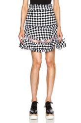 Msgm Check Tweed Skirt In Black White Checkered And Plaid