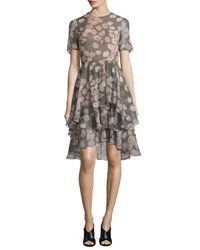 Jason Wu Floral Print Houndstooth Silk Day Dress Fawn Multi Fawn Multi