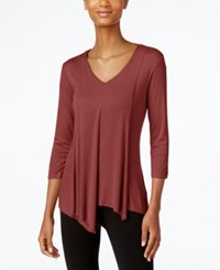 Cable And Gauge Asymmetrical Hem Top Burgundy