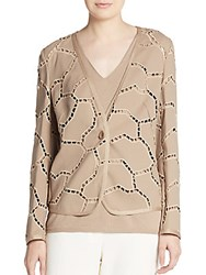 Escada Ladder Stitch Cardigan Medium Beige