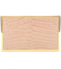Victoria Beckham Hard Metal Alligator Box Clutch White Neutrals