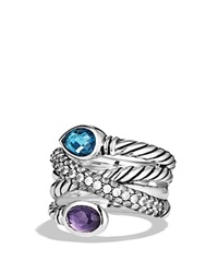David Yurman Ultramarine Crossover Ring With Hampton Blue Topaz Black Orchid And Gray Sapphires Black Silver Blue