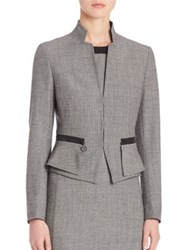 Akris Punto Wool Peplum Jacket Black Cream