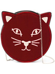 Charlotte Olympia Pussycat Shoulder Bag Red
