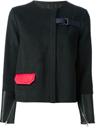 Jamie Wei Huang Contrasting Cuffs And Pocket Straight Jacket Black