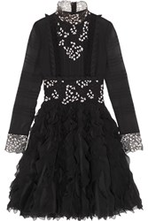 Giambattista Valli Ruffled Guipure Lace Trimmed Silk Chiffon Dress Black