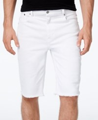 Lrg Men's Monochrome Straight Fit Cutoff Denim Shorts White