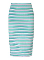 Miss Selfridge Petites Multi Stripe Midi Skirt Pink