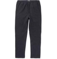 Ami Alexandre Mattiussi Tapered Herringbone Cotton Blend Sweatpants Indigo