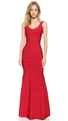 Herve Leger Ellen Gown Lipstick Red