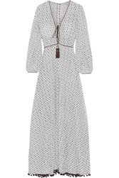 Talitha Marissa Printed Silk Crepe De Chine Maxi Dress Ivory