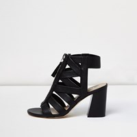 River Island Womens Black Zip Front Strappy Shoe Boots