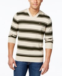 Tommy Hilfiger Men's Striped V Neck Sweater Taupe Heather