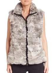 Glamourpuss Reversible Rabbit Fur Vest Grey