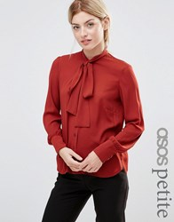 Alter Petite Blouse With Tie Neck Red Rust