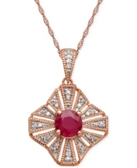 Macy's Ruby 1Ct. T.W. And Diamond Accent Pendant Necklace In 14K Rose Gold Red