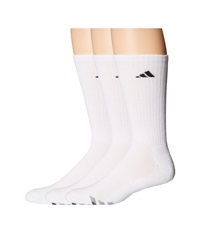 Adidas Cushioned 3 Stripe 3 Pair Crew Sock White Black Granite Light Onix Men's Crew Cut Socks Shoes